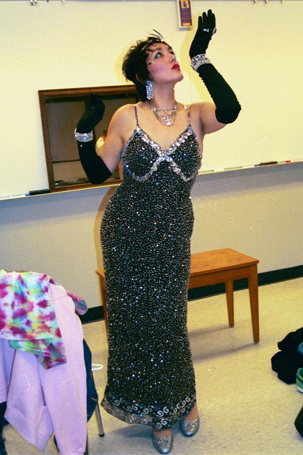 Sara Hanlon appears backstage in costume for