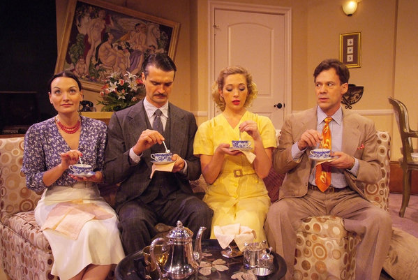 Julie Granata,             Matthew Floyd Miller, Alyson Lindsay and Joseph Fuqua attempt an             awkward stab